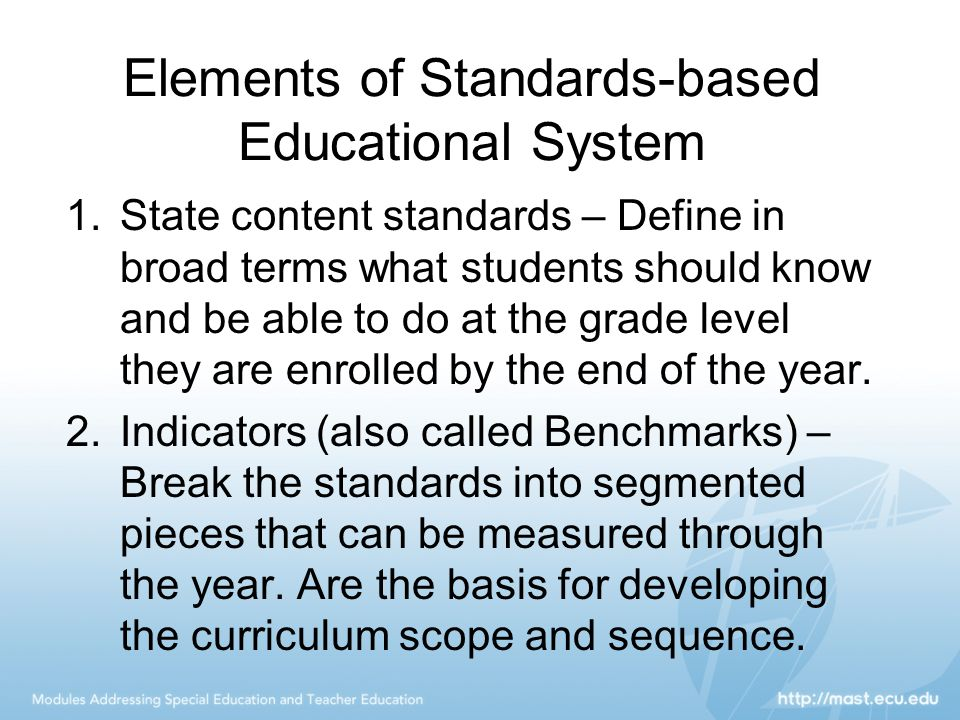 Elements of Standards-based Educational System
