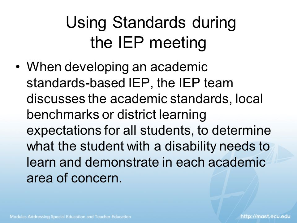 Using Standards during the IEP meeting