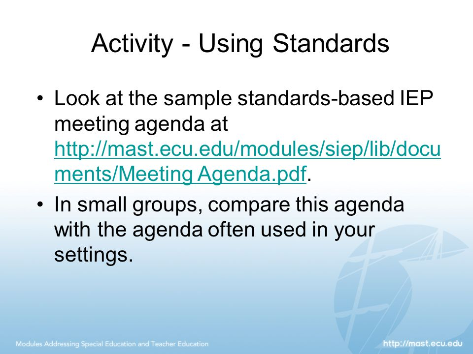 Activity - Using Standards