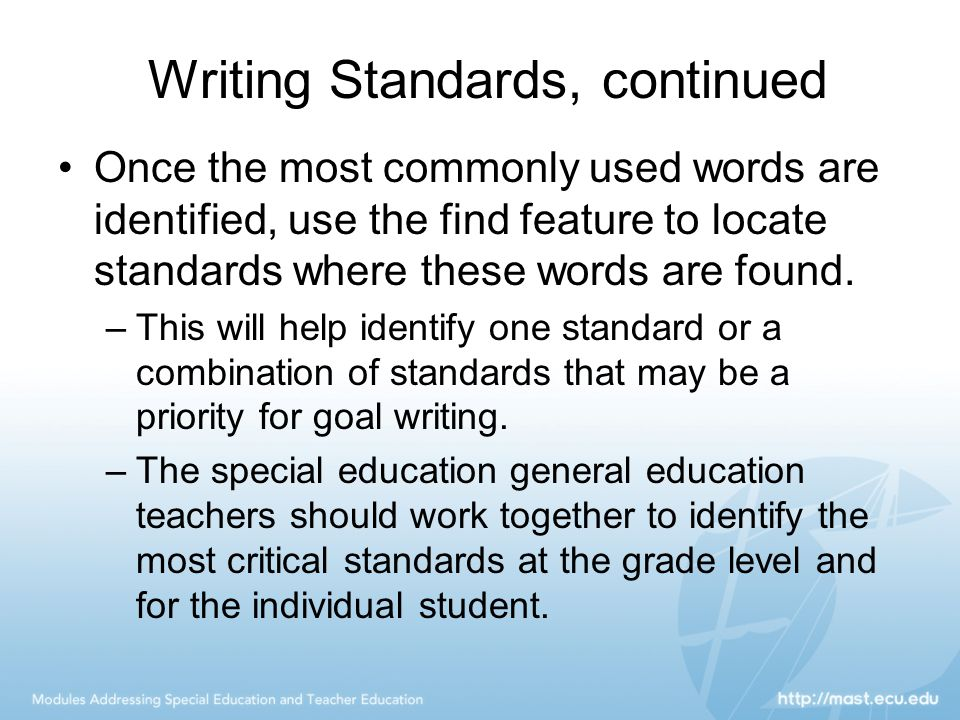 Writing Standards, continued