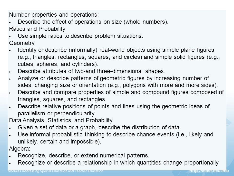 Number properties and operations: