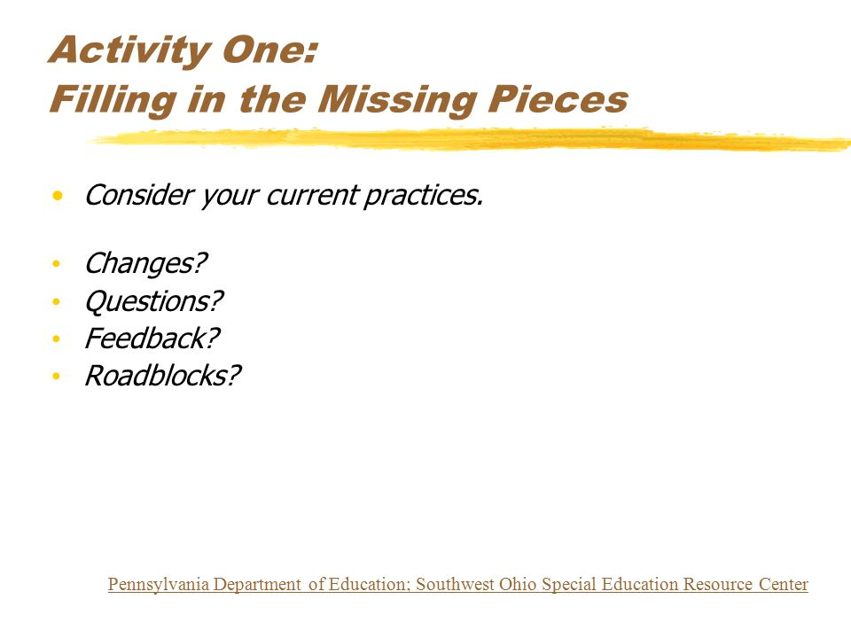 Activity One: Filling in the Missing Pieces