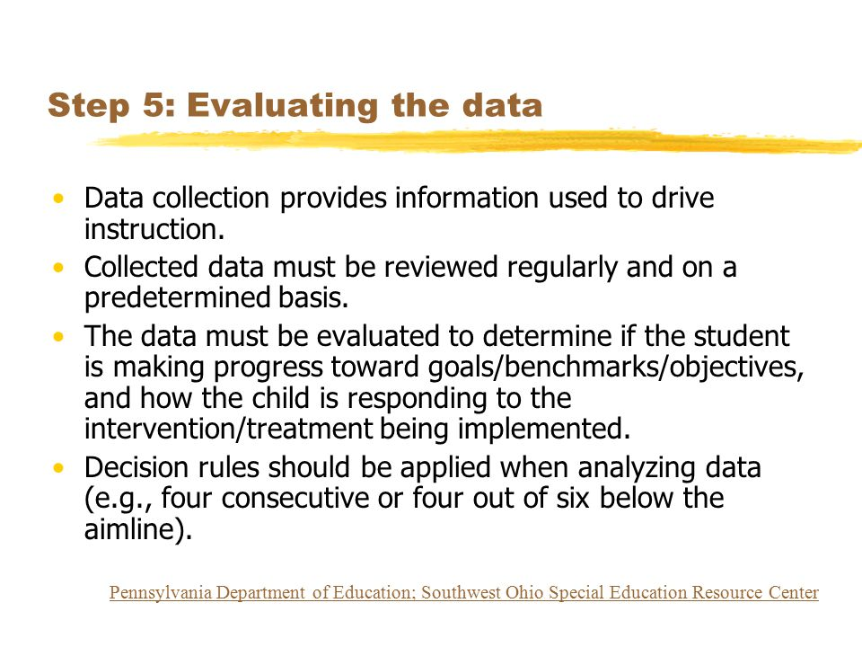 Step 5: Evaluating the data