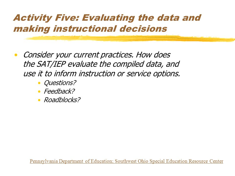 Activity Five: Evaluating the data and making instructional decisions