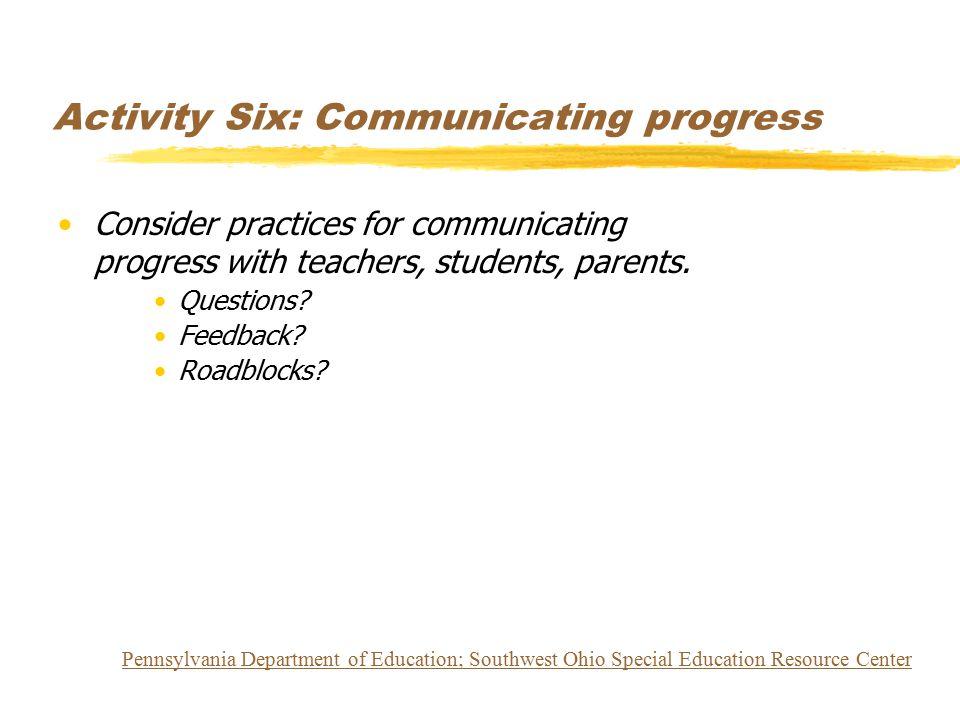 Activity Six: Communicating progress