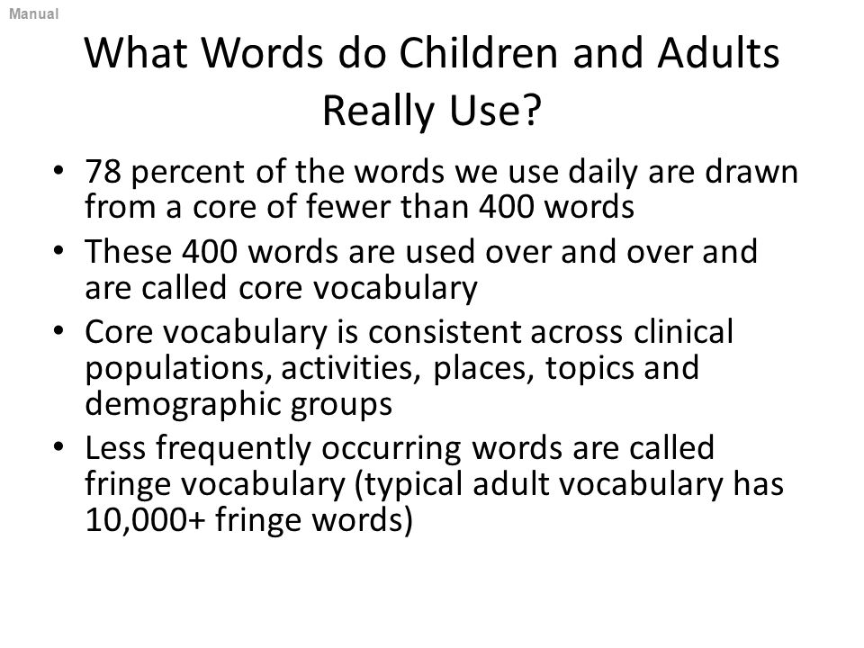 What Words do Children and Adults Really Use