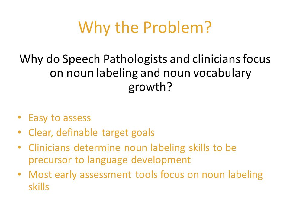 Why the Problem Why do Speech Pathologists and clinicians focus on noun labeling and noun vocabulary growth