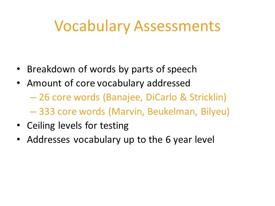 Vocabulary Assessments