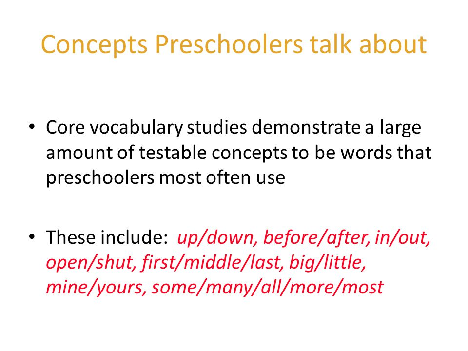 Concepts Preschoolers talk about