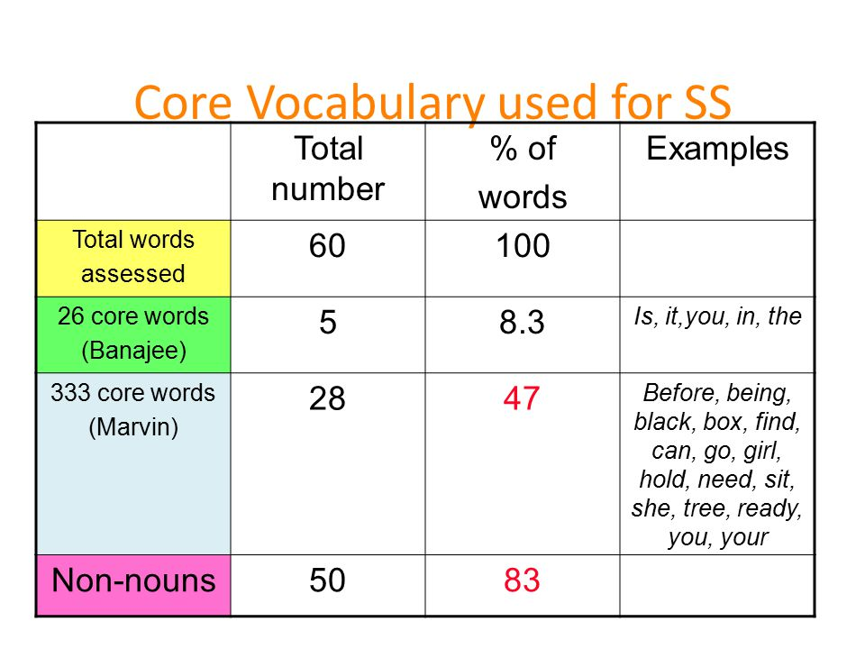 Core Vocabulary used for SS