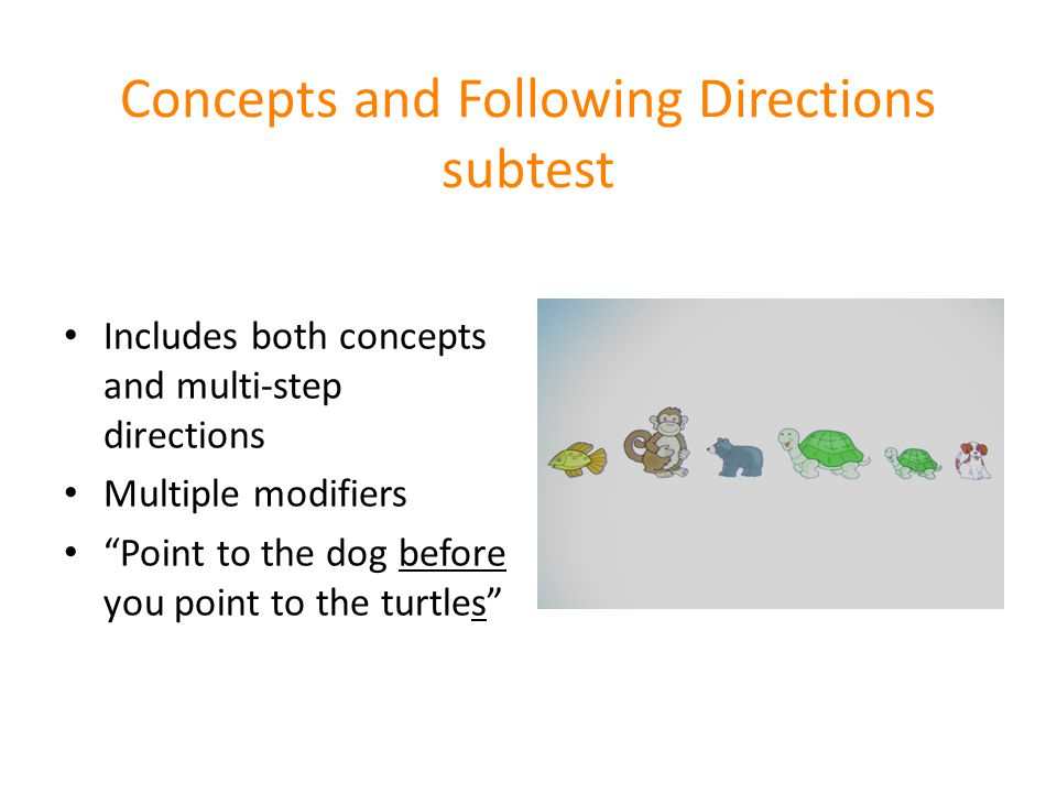 Concepts and Following Directions subtest