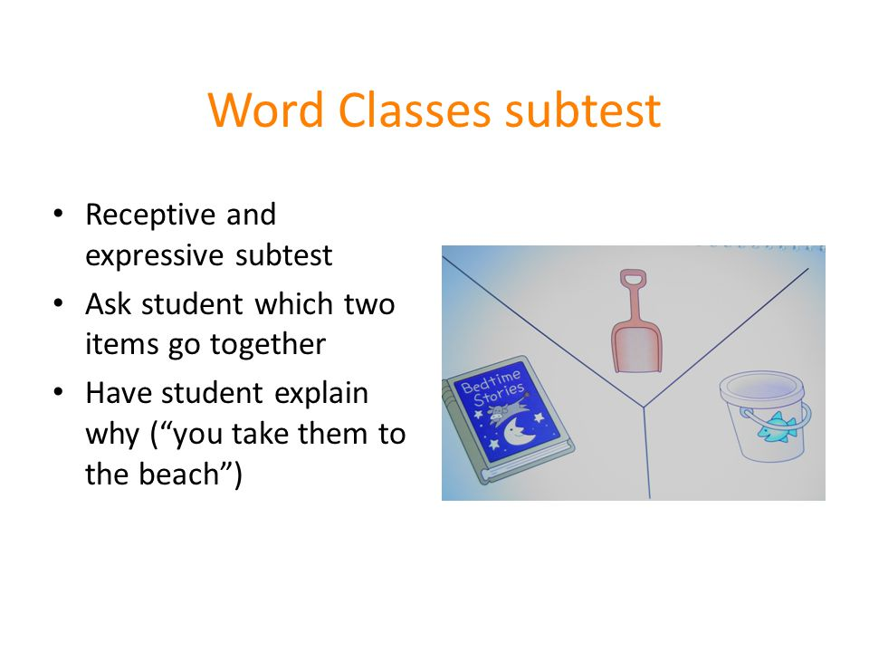 Word Classes subtest Receptive and expressive subtest