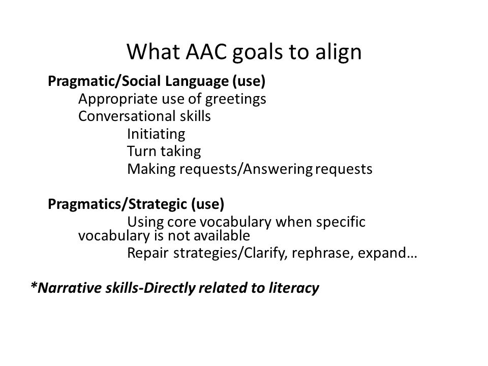 What AAC goals to align Appropriate use of greetings