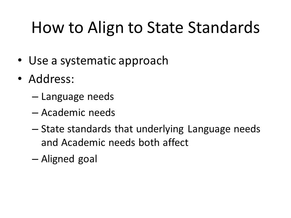 How to Align to State Standards