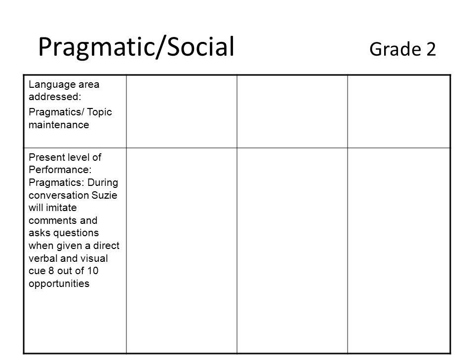 Pragmatic/Social Grade 2