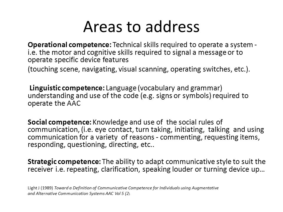 Areas to address