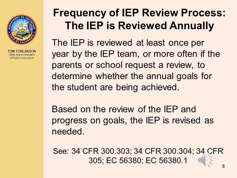 Frequency of IEP Review Process: The IEP is Reviewed Annually