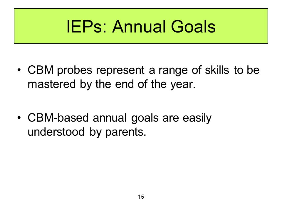 IEPs: Annual Goals CBM probes represent a range of skills to be mastered by the end of the year.
