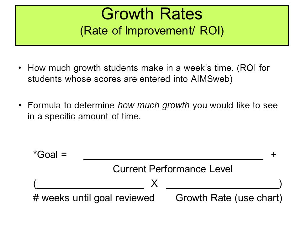 Growth Rates (Rate of Improvement/ ROI)