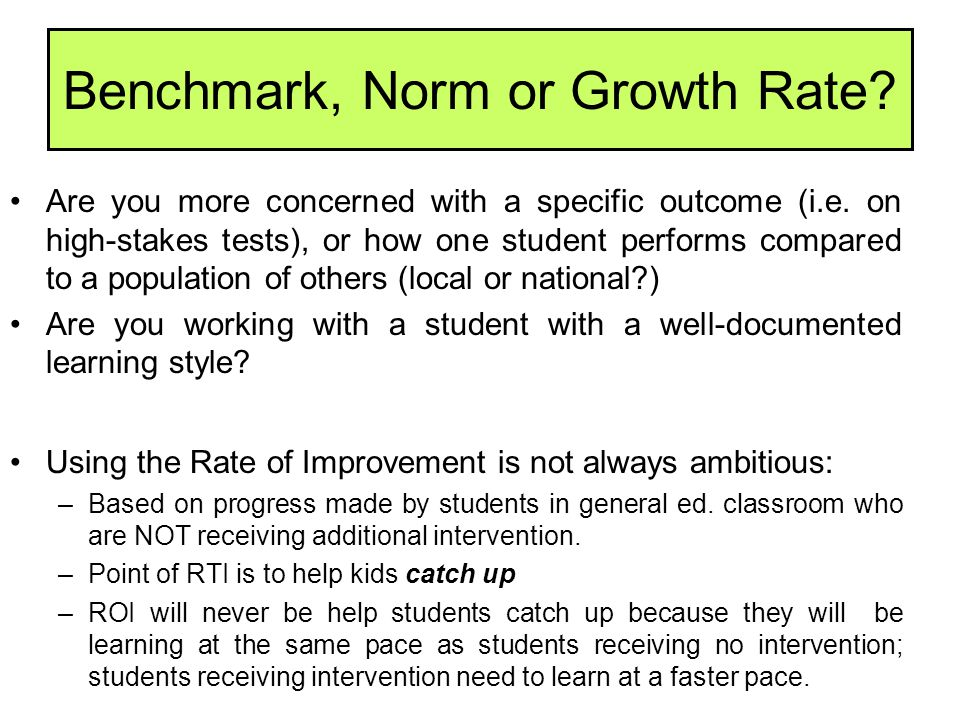 Benchmark, Norm or Growth Rate