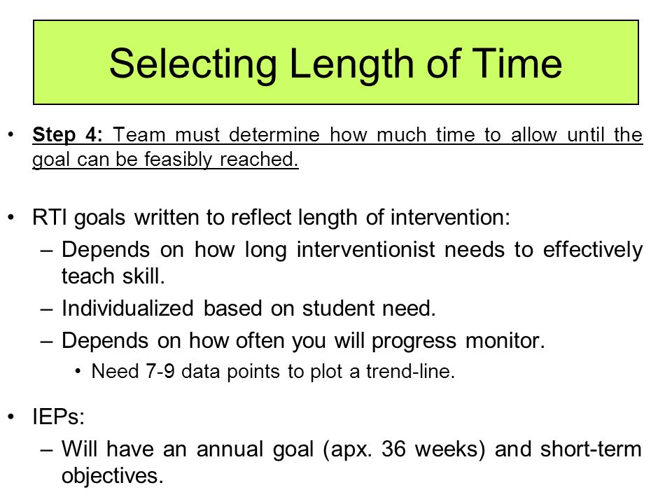 Selecting Length of Time
