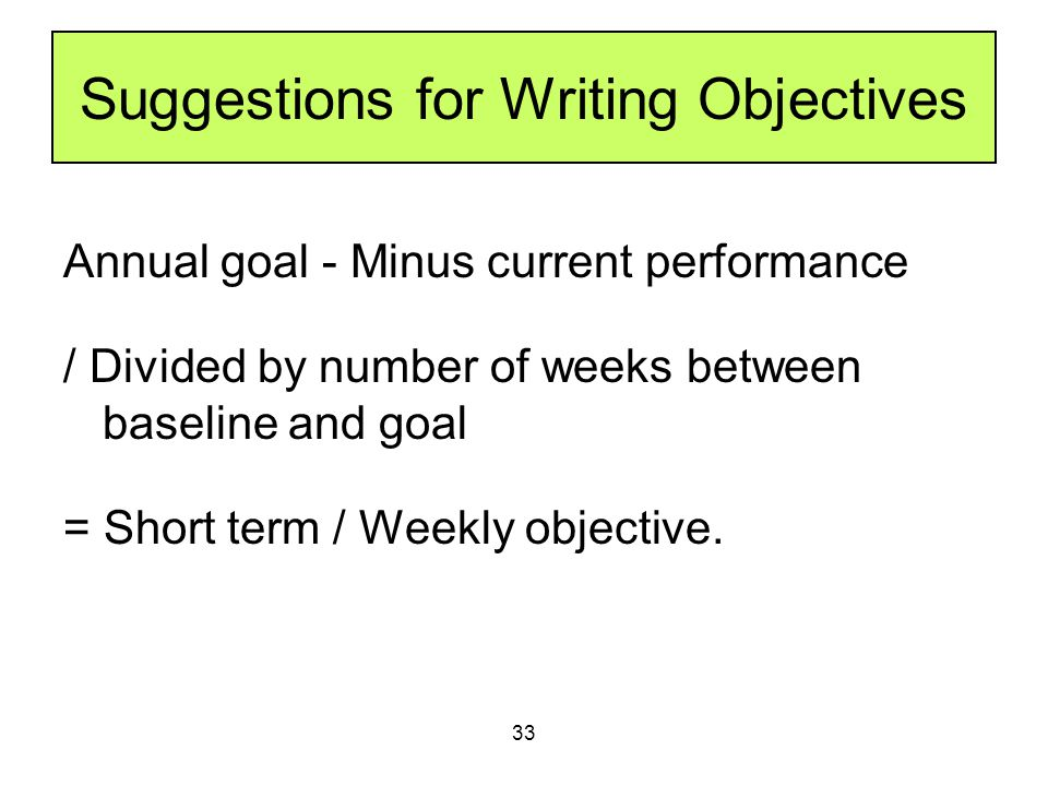 Suggestions for Writing Objectives