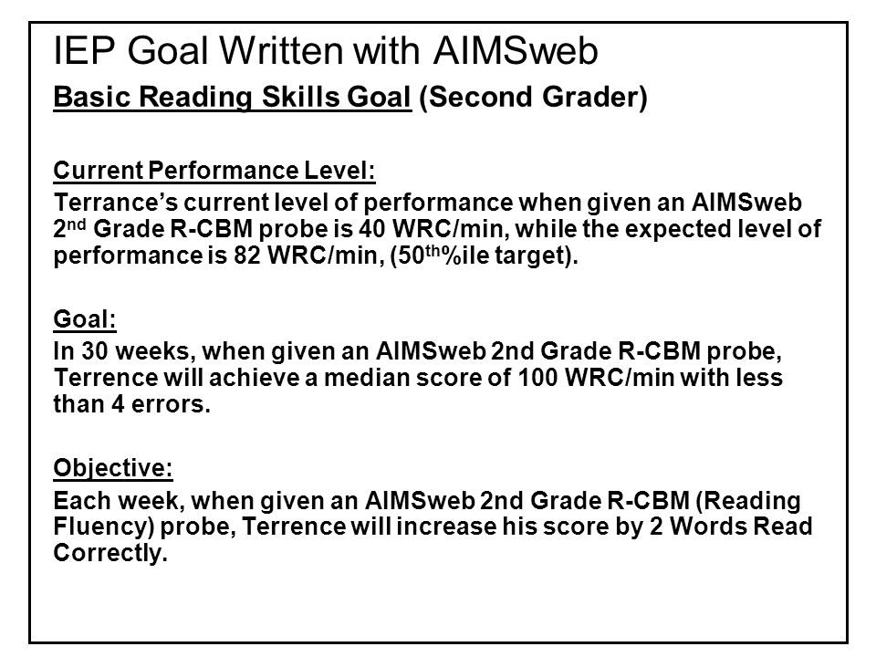 IEP Goal Written with AIMSweb