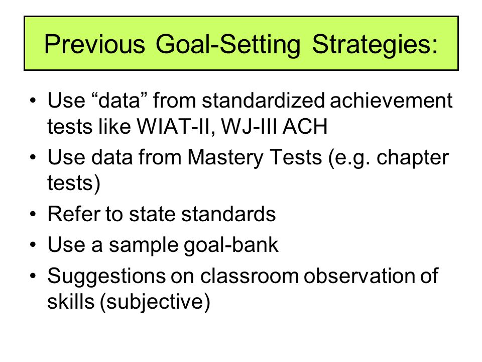 Previous Goal-Setting Strategies: