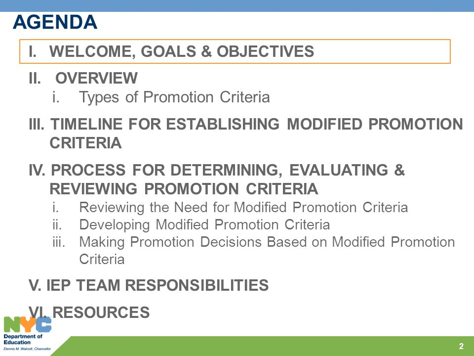 AGENDA WELCOME, GOALS & OBJECTIVES OVERVIEW