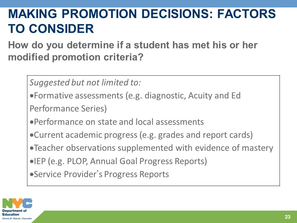 MAKING PROMOTION DECISIONS: FACTORS TO CONSIDER