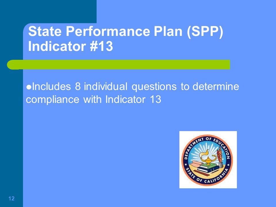 State Performance Plan (SPP) Indicator #13