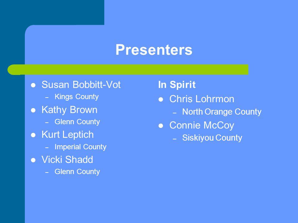 Presenters Susan Bobbitt-Vot Kathy Brown Kurt Leptich Vicki Shadd