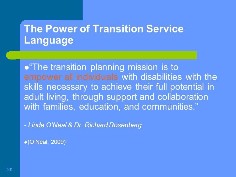 The Power of Transition Service Language