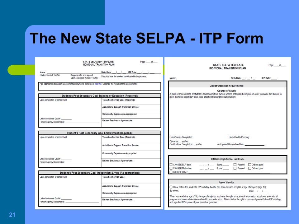 The New State SELPA - ITP Form