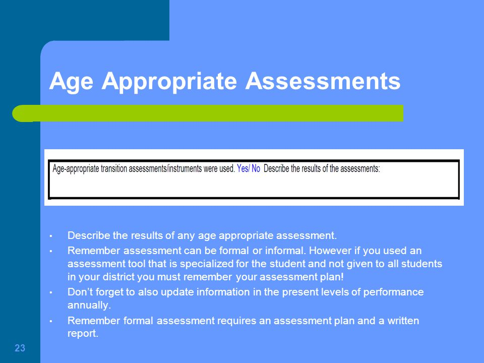 Age Appropriate Assessments