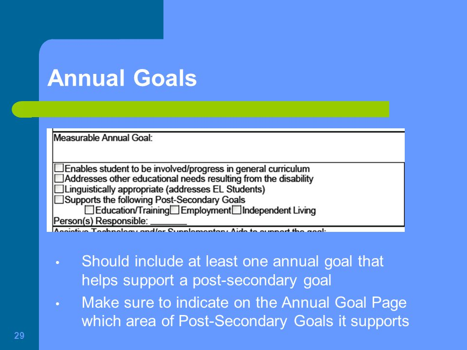 Annual Goals Should include at least one annual goal that helps support a post-secondary goal.