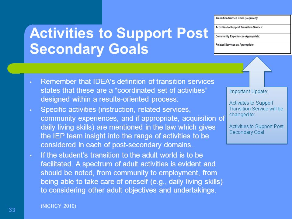 Activities to Support Post Secondary Goals