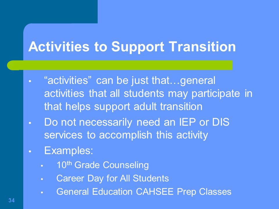 Activities to Support Transition