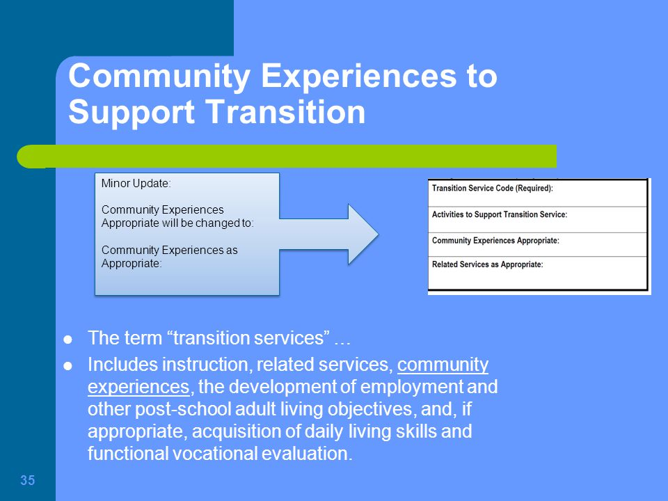 Community Experiences to Support Transition