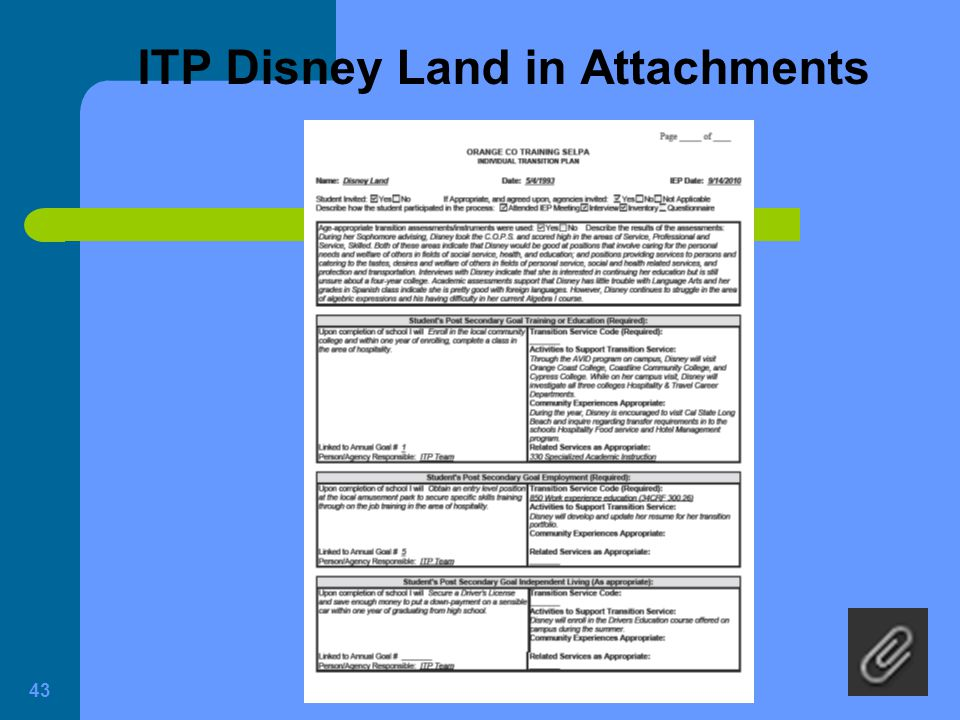 ITP Disney Land in Attachments