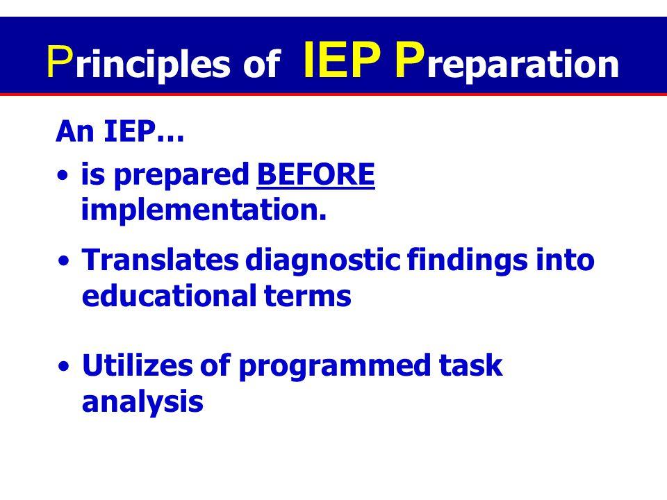 Principles of IEP Preparation