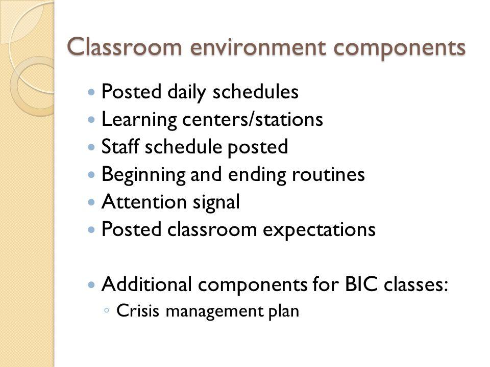 Classroom environment components