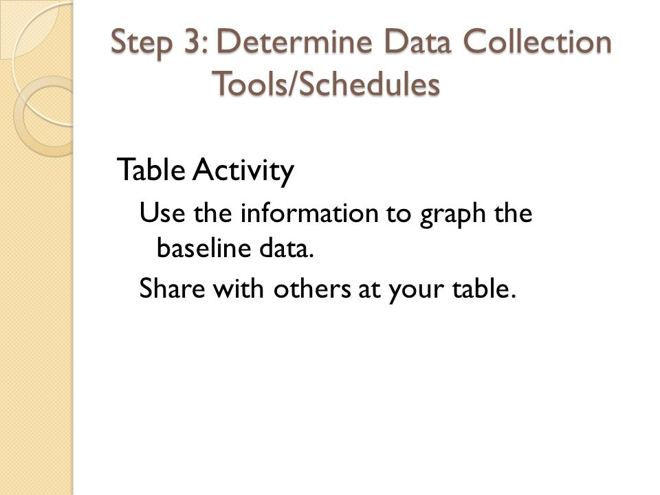Step 3: Determine Data Collection Tools/Schedules