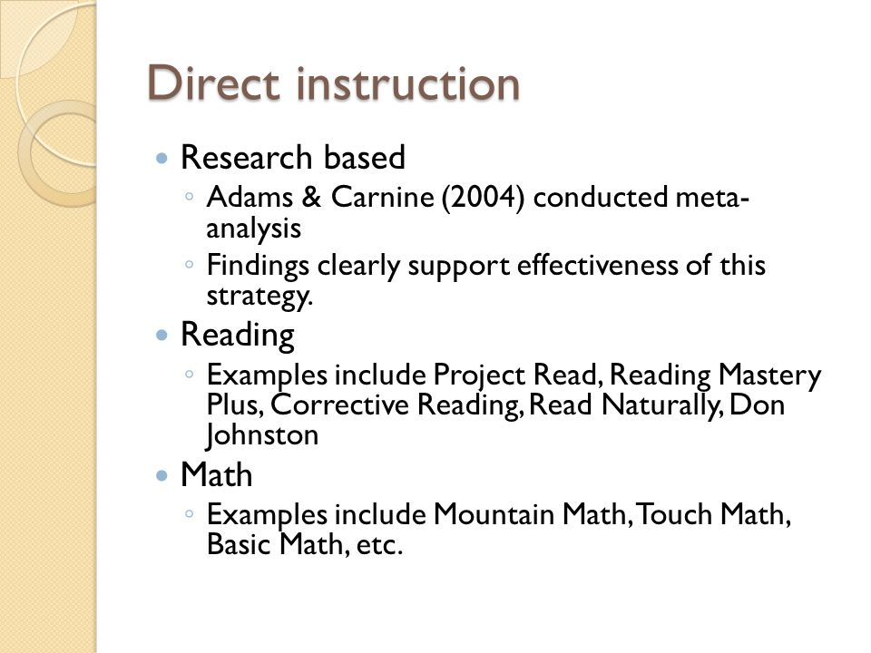 Direct instruction Research based Reading Math