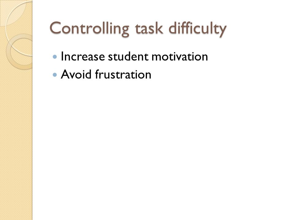 Controlling task difficulty