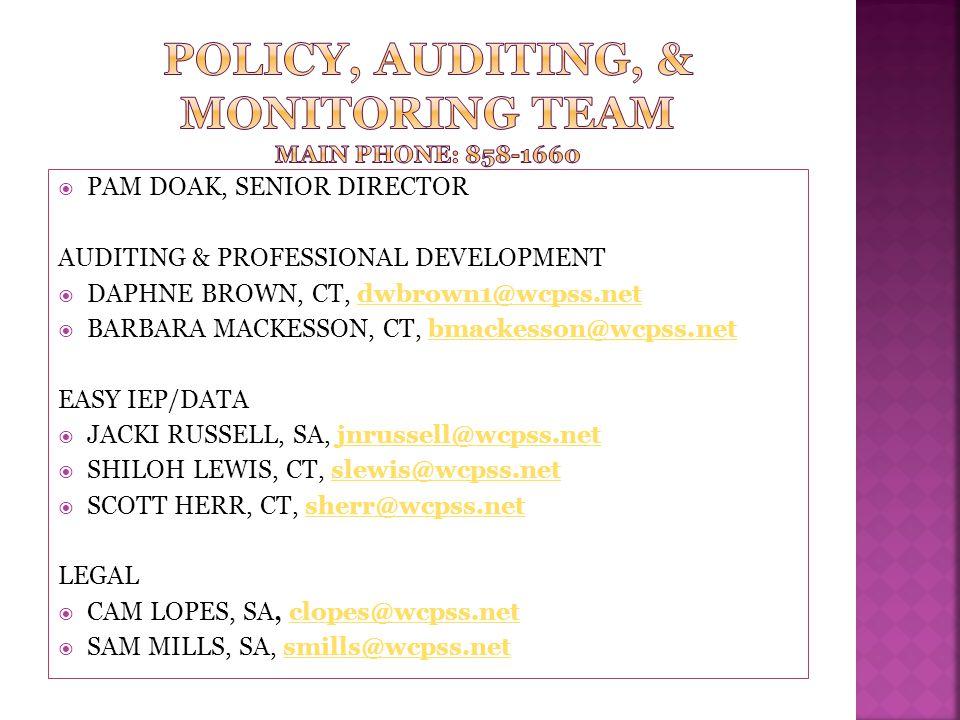 Policy, auditing, & monitoring team main phone: 858-1660