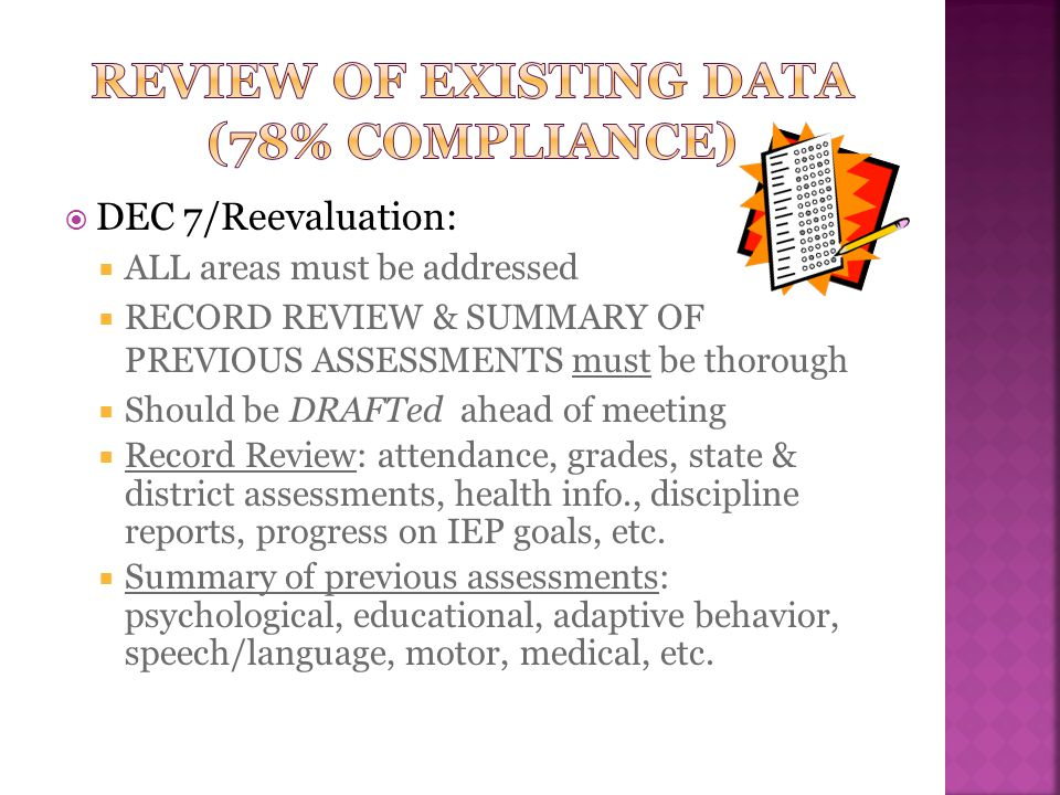 Review of existing data (78% compliance)
