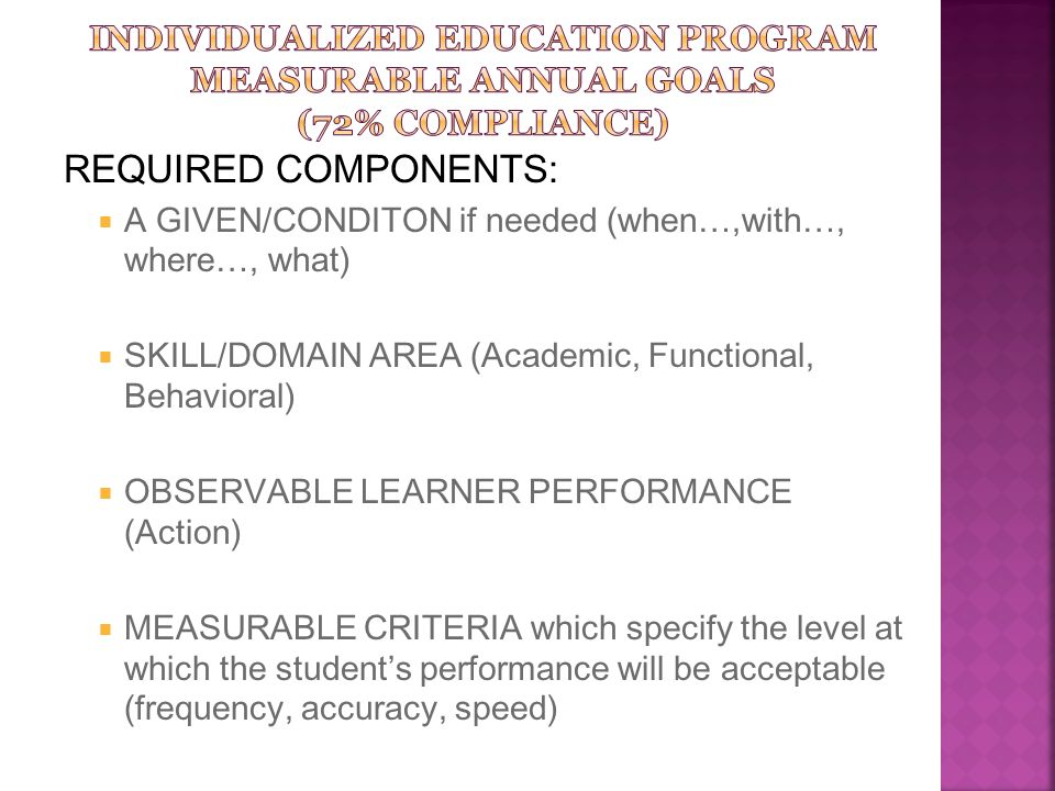 INDIVIDUALIZED EDUCATION PROGRAM MEASURABLE ANNUAL GOALS (72% Compliance)