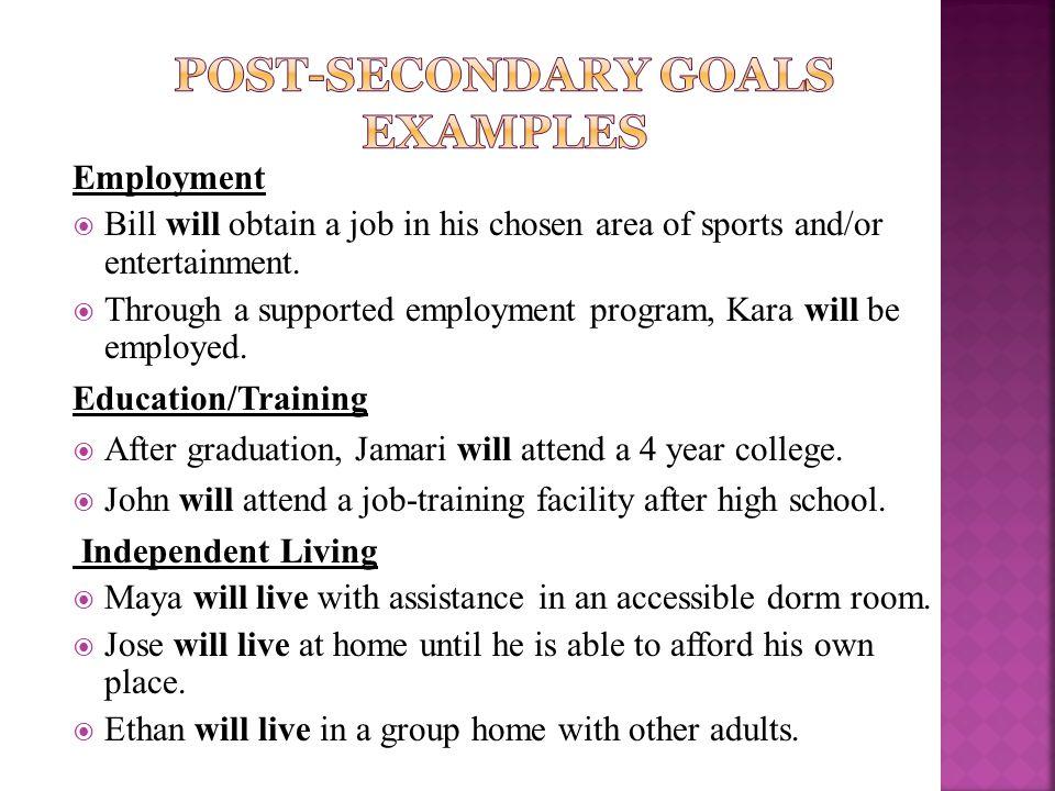 Post-Secondary Goals examples