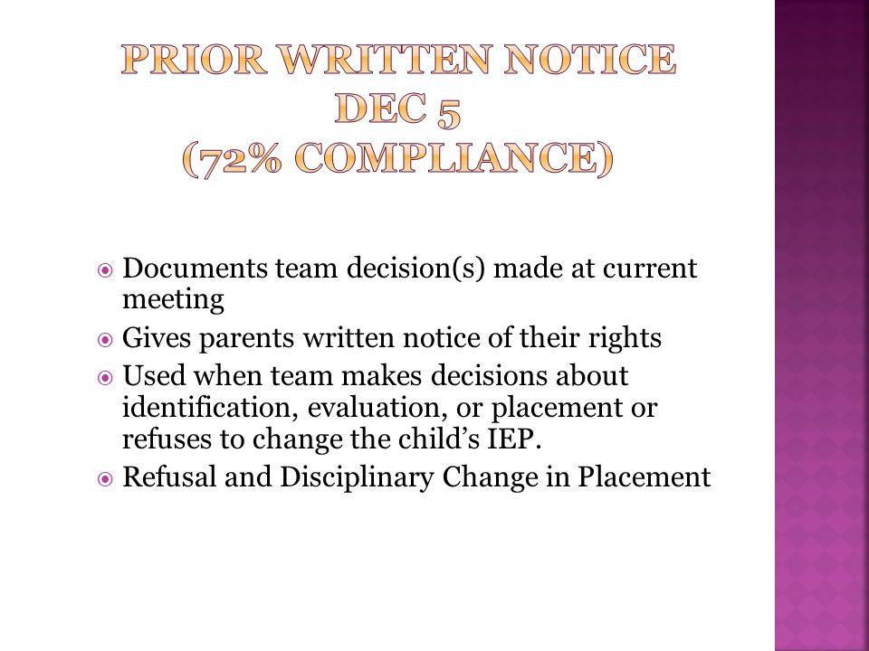 Prior Written Notice DEC 5 (72% Compliance)
